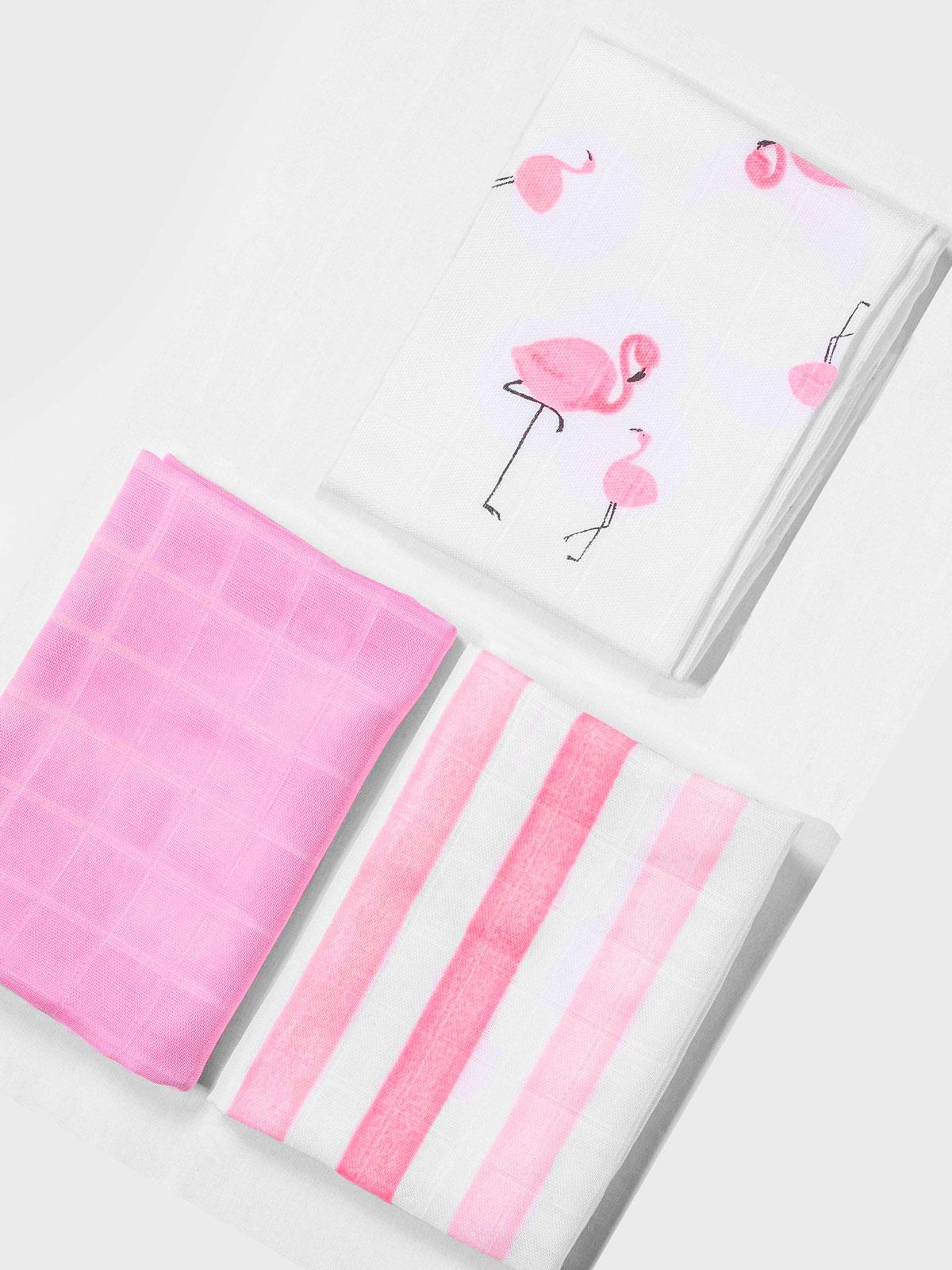 Flamingo Desenli Müslin Omuz Bezi